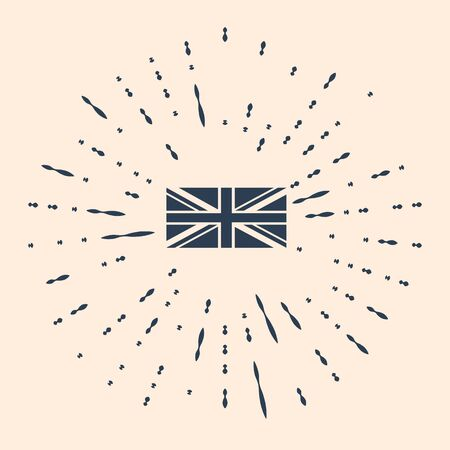 Black Flag of Great Britain icon isolated on beige background. UK flag sign. Official United Kingdom flag sign. British symbol. Abstract circle random dots. Vector Illustration.