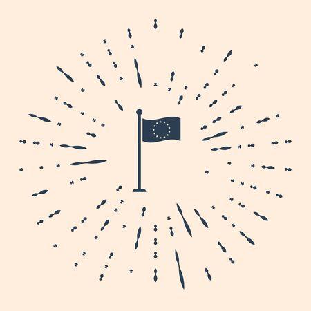 Black Flag of European Union icon isolated on beige background. EU circle symbol. Waving EU flag on a metallic pole. Abstract circle random dots. Vector Illustration.