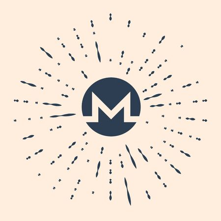 Black Cryptocurrency coin Monero XMR icon isolated on beige background. Physical bit coin. Digital currency. Altcoin symbol. Blockchain based secure crypto currency. Vector Illustration.