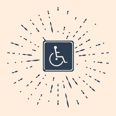 Black Disabled handicap icon isolated on beige background. Wheelchair handicap sign. Abstract circle random dots. Vector Illustration. Stock Illustratie