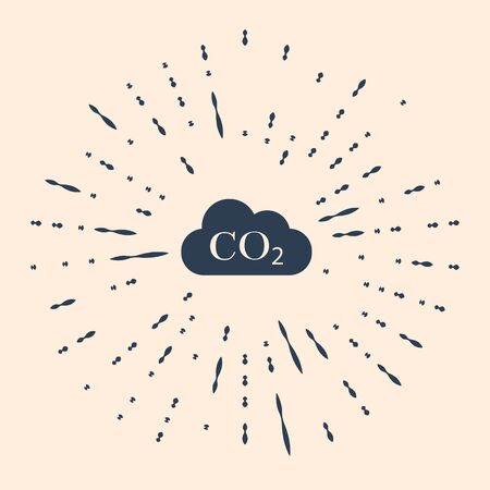 CO2 emissions in cloud icon on beige background. Carbon dioxide formula symbol, smog pollution concept, environment concept, combustion products. Abstract circle random dots. Vector Illustration.