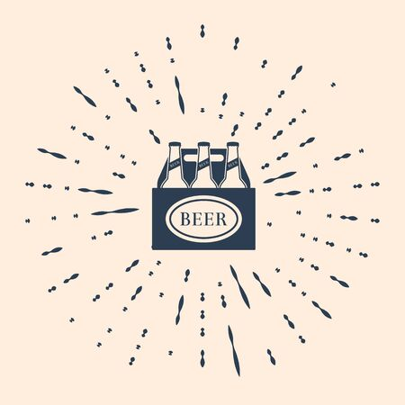 Black Pack of beer bottles icon isolated on beige background. Case crate beer box sign. Abstract circle random dots. Vector Illustration.