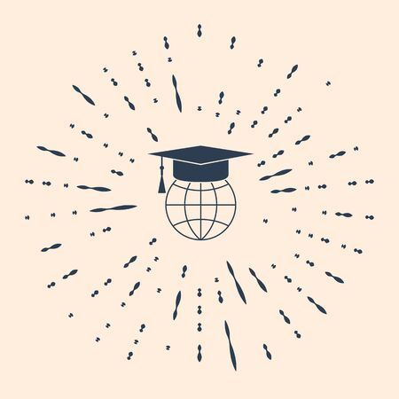 Black Graduation cap on globe icon isolated on beige background. World education symbol. Online learning or e-learning concept. Abstract circle random dots. Vector Illustration.
