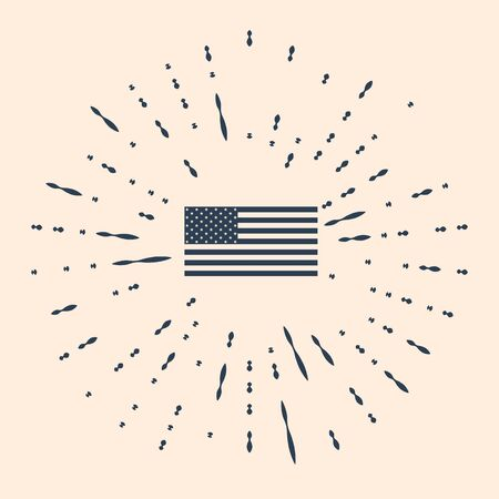 Black American flag icon isolated on beige background. Flag of USA. Abstract circle random dots. Vector Illustration.