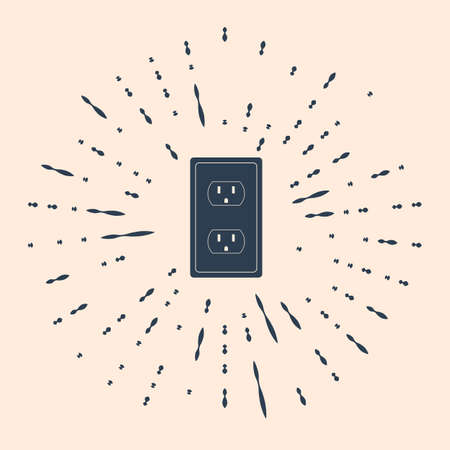 Black Electrical outlet in the USA icon isolated on beige background. Power socket. Abstract circle random dots. Çizim