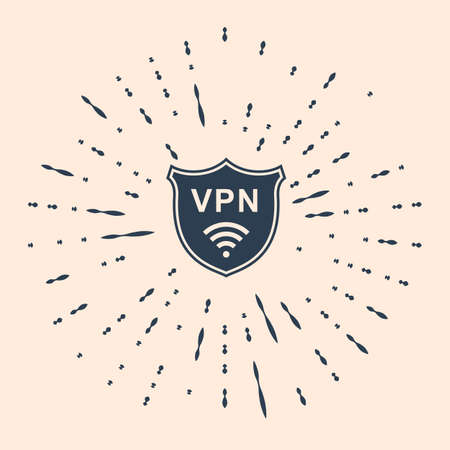 Black Shield with VPN and WiFi wireless internet network symbol icon on beige background. VPN protect safety concept. Virtual private network for security.  Illustration 일러스트
