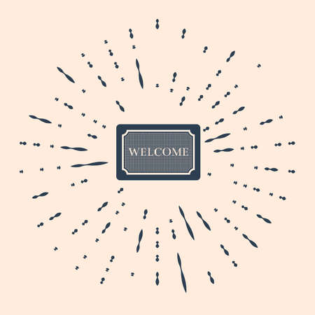 Black Doormat with the text Welcome icon isolated on beige background. Welcome mat sign. Abstract circle random dots Illustration Ilustração