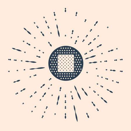 Black Bandage plaster icon isolated on beige background. Medical plaster, adhesive bandage, flexible fabric bandage. Abstract circle random dots Illustration