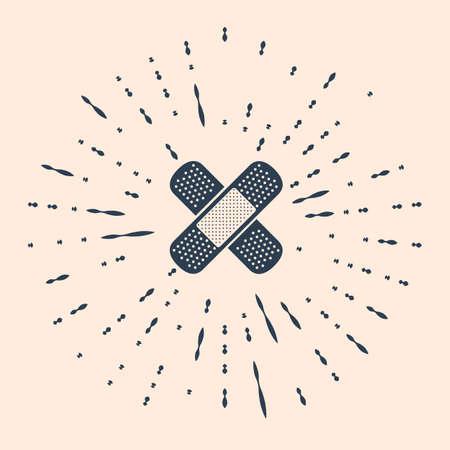 Black Set Bandage plaster icon isolated on beige background. Medical plaster, adhesive bandage, flexible fabric bandage. Abstract circle random dots Illustration Ilustração