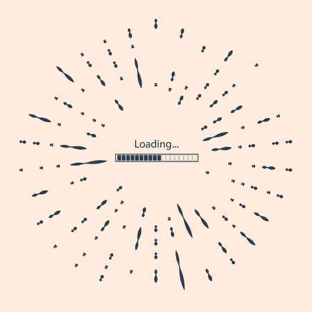 Black Loading icon isolated on beige background. Progress bar icon. Abstract circle random dots Illustration Vettoriali