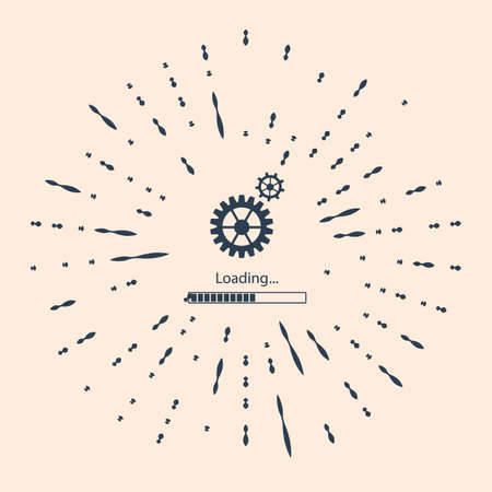 Black Loading and gear icon isolated on beige background. Progress bar icon. System software update. Loading process symbol. Abstract circle random dots Illustration Vettoriali