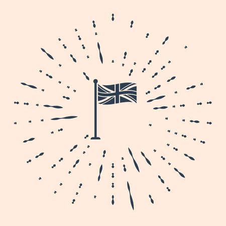 Black Flag of Great Britain on flagpole icon isolated on beige background. UK flag sign. Official United Kingdom flag sign. British symbol. Abstract circle random dots Illustration