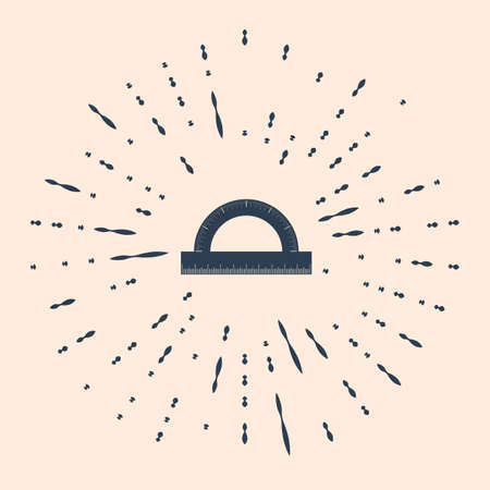 Black Protractor grid for measuring degrees icon isolated on beige background. Tilt angle meter. Measuring tool. Geometric symbol. Abstract circle random dots Illustration 写真素材 - 150849918