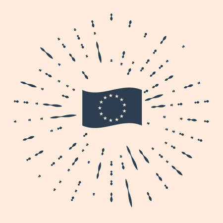 Flag of European Union icon isolated on beige background. EU circle symbol. Waving EU flag. Abstract circle random dots Illustration