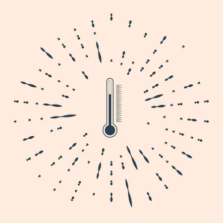 Black Thermometer icon isolated on beige background. Abstract circle random dots Illustration  イラスト・ベクター素材