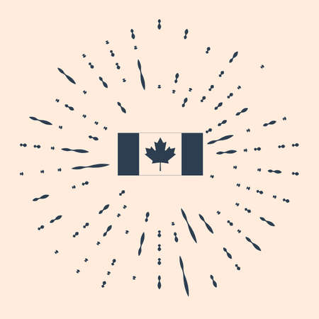 Black Canada flag icon isolated on beige background. Abstract circle random dots Illustration