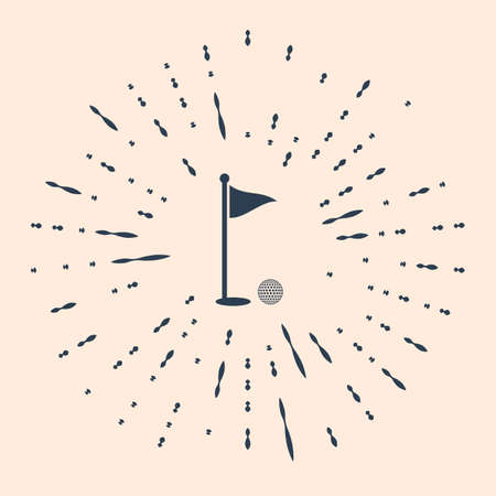 Black Golf ball and hole with flag icon isolated on beige background. Golf course. Ball and flagstick in hole. Sport concept. Abstract circle random dots Illustration
