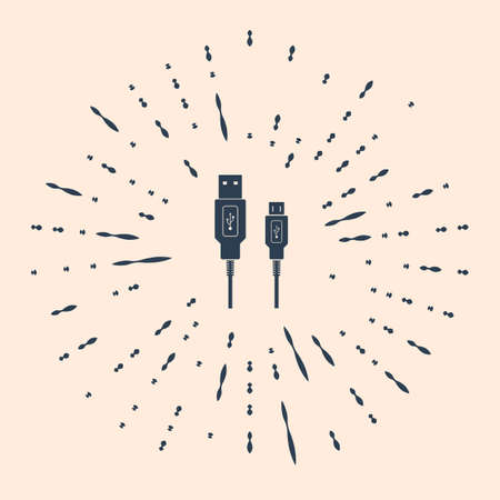 USB Micro cables icon on beige background. Connectors and sockets for PC and mobile devices. Computer peripherals connector or smartphone recharge supply. Abstract random dots Illustration Ilustración de vector