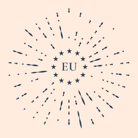 Black Flag of European Union icon isolated on beige background. EU circle symbol. Waving EU flag. Abstract circle random dots Illustration