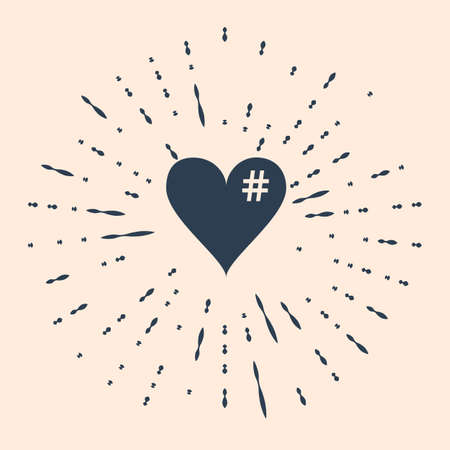 Black The hash love icon. Hashtag heart symbol icon isolated on beige background. Abstract circle random dots Illustration Vettoriali