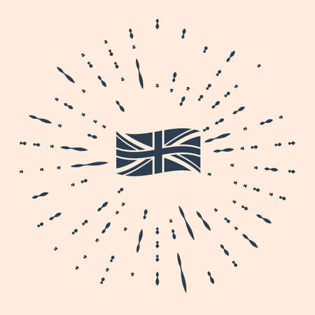 Black Flag of Great Britain icon isolated on beige background. UK flag sign. Official United Kingdom flag sign. British symbol. Abstract circle random dots Illustration Stock Illustratie