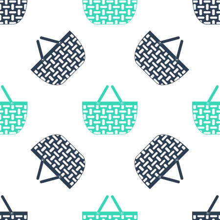 Green Shopping basket icon isolated seamless pattern on white background. Online buying concept. Delivery service sign. Shopping cart symbol. Vector Ilustrace