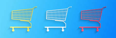 Paper cut Shopping cart icon isolated on blue background. Online buying concept. Delivery service sign. Supermarket basket symbol. Paper art style. Vector