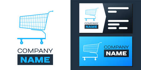 Logotype Shopping cart icon isolated on white background. Online buying concept. Delivery service sign. Supermarket basket symbol. Logo design template element. Vector