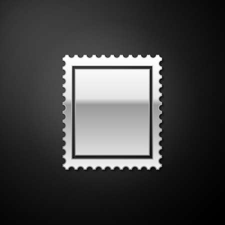 Silver Postal stamp icon isolated on black background. Long shadow style. Vector