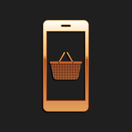Gold Mobile phone and shopping basket icon isolated on black background. Online buying symbol. Supermarket basket symbol. Long shadow style. Vector