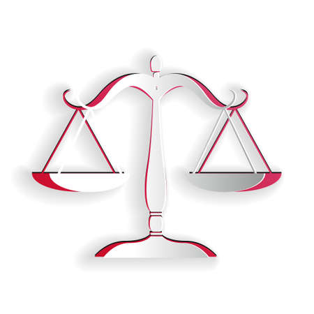Paper cut Scales of justice icon isolated on white background. Court of law symbol. Balance scale sign. Paper art style. Vector
