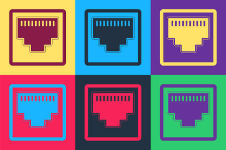 Pop art Network port - cable socket icon isolated on color background. LAN port icon. Ethernet simple icon. Local area connector icon. Vector