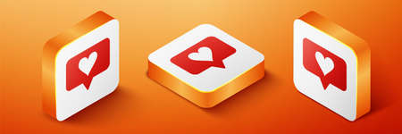 Isometric Like and heart icon isolated on orange background. Counter Notification Icon. Follower Insta. Orange square button. Vector Illustration