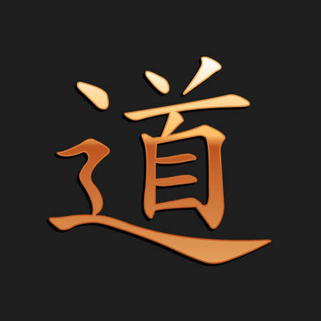 Gold Chinese calligraphy, translation Dao, Tao, Taoism icon isolated on black background. Long shadow style. Vector 일러스트