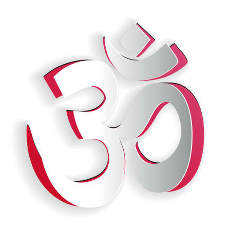 Paper cut Om or Aum Indian sacred sound icon isolated on white background. The symbol of the divine triad of Brahma, Vishnu and Shiva. Paper art style. Vector