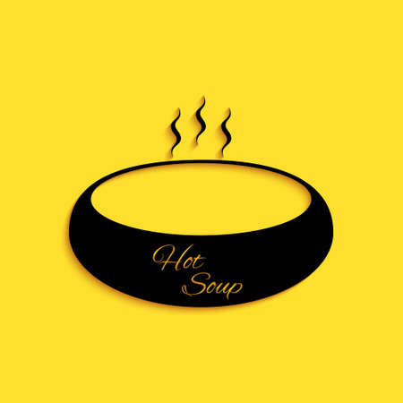 Black Bowl of hot soup icon isolated on yellow background. Long shadow style. Vector