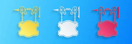 Paper cut Vintage street signboard hanging on forged brackets icon isolated on blue background. Suitable for advertisements bar, cafe, pub, restaurant. Paper art style. Vector