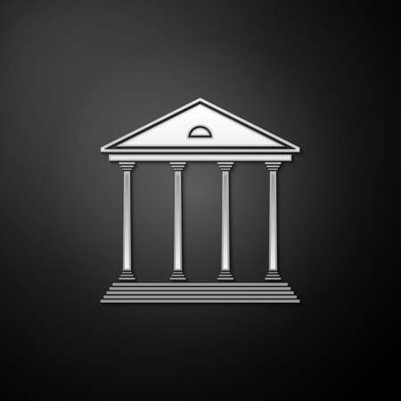 Silver Courthouse building icon isolated on black background. Building bank or museum. Long shadow style. Vector 向量圖像