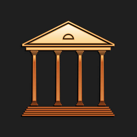 Gold Courthouse building icon isolated on black background. Building bank or museum. Long shadow style. Vector 向量圖像