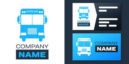 Logotype School Bus icon isolated on white background. Logo design template element. Vector Ilustração