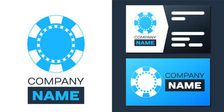 Logotype Casino chip icon isolated on white background. Logo design template element. Vector