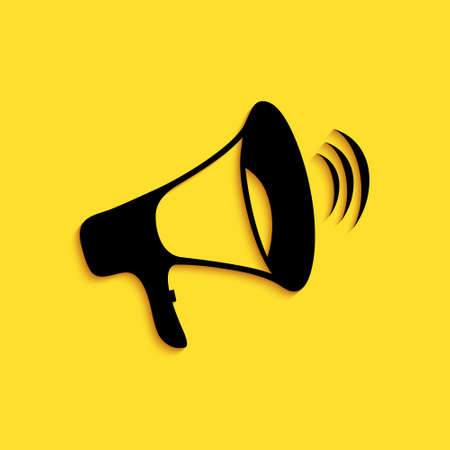 Black Megaphone icon isolated on yellow background. Long shadow style. Vector 向量圖像