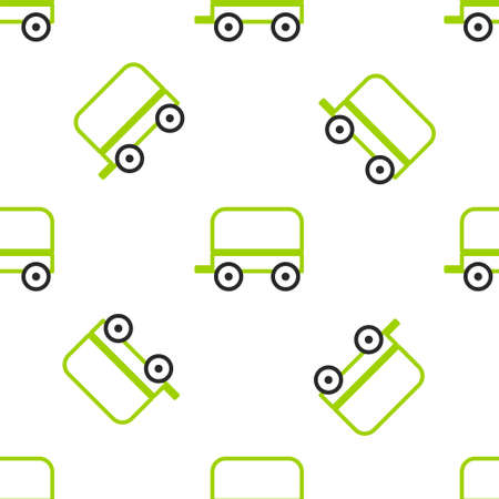Line Wild west covered wagon icon isolated seamless pattern on white background. Vector Illustration