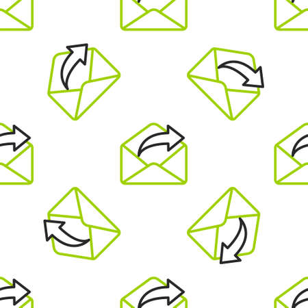 Line Outgoing mail icon isolated seamless pattern on white background. Envelope symbol. Outgoing message sign. Mail navigation button. Vector Illustration
