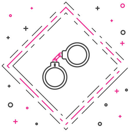 Line Handcuffs icon isolated on white background. Colorful outline concept. Vector Illustration Illustration