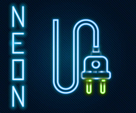 Glowing neon line Electric plug icon isolated on black background. Concept of connection and disconnection of the electricity. Colorful outline concept. Vector Illustration 일러스트