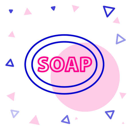 Line Bar of soap icon isolated on white background. Soap bar with bubbles. Colorful outline concept. Vector Illustration 일러스트