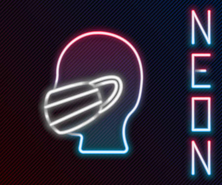 Glowing neon line Man face in a medical protective mask icon isolated on black background. Quarantine. Colorful outline concept. Vector Illustration 일러스트