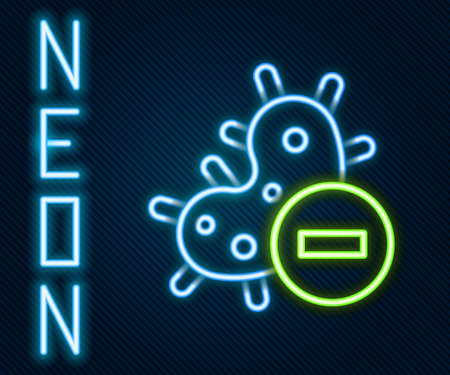 Glowing neon line Negative virus icon isolated on black background. Corona virus 2019-nCoV. Bacteria and germs, cell cancer, microbe, fungi. Colorful outline concept. Vector Illustration