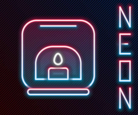 Glowing neon line Aroma lamp icon isolated on black background. Colorful outline concept. Vector Illustration